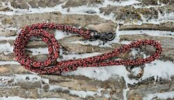 8 Strand Paracord Dog Leash with Metal Clasp - Red and Black