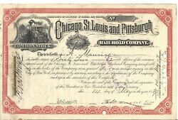 CHICAGO ST. LOUIS AND PITTSBURGH RAILROAD COMPANY....1887 STOCK CERTIFICATE $12.56