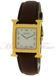 Hermes Heure H White Dial - Yellow Gold Plated On Strap Ref Hh1.501
