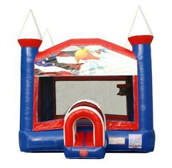 Inflatable Bounce House Commercial Patriotic Blow Up Jump House With Blower