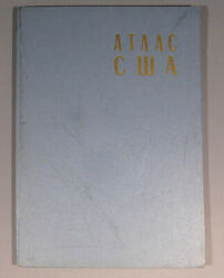 Book Atlas Usa Russian Map Soviet Diagram Old Vintage United States Of America