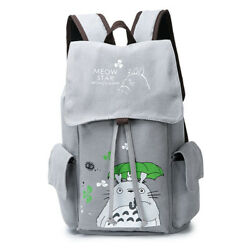 Outdoor Fashion Laptop Backpack Anime Totoro Canvas Travel Notebook School Bag $32.40