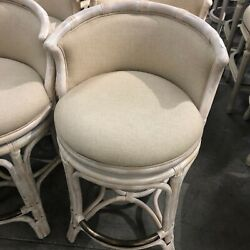 Frontgate Bali Woven Swivel Counter Bar Stool Seat Height White Washed Linen