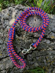 8 Strand Paracord Dog Leash with Metal Clasp - Blue and Orange
