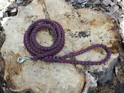 8 Strand Paracord Dog Leash with Metal Clasp - Burgundy Grey Green