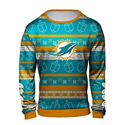Forever Collectibles Nfl Men's Miami Dolphins Hanukkah Ugly Crew Neck Sweater