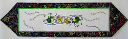 Quilted Mardi Gras Table Runner W/embroidered Masks And Beads 39.5x10.5 _al-078