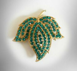 Weiss Vintage Brooch In Leaf Form With Teal Blue-green Faceted Stones - Marked