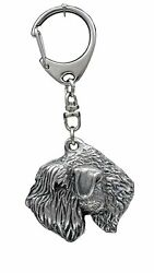 Irish Soft Coated Wheaten Terrier Key Ring Silver Plated Solid Keychain USA 1101