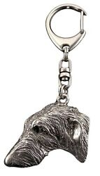 Scottish Deerhound Silver Keyring Solid Keychain Key Ring with Dog USA