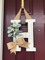 Front Door Wreath, Farmhouse Letter Wreath, Rustic, White Washed Monogram
