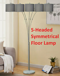 Contemporary Style Uniform Shade Sleek Lamp Furniture Satin With Grey 5 Heads