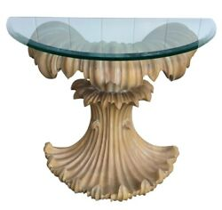ESTATE Mid-Century Glass Top Washed Wood Console Table
