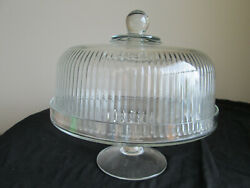 Vintage Heavy Ribbed Clear Glass Cake Dome With Elegant 4 High Cake Stand