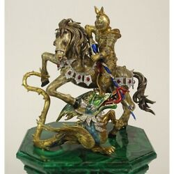 Enameled 18 Karat Yellow and White Gold Saint George and the Dragon Sculpture