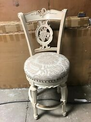 Frontgate Provencal Grape Wood Barstool Chair Bar Counter Stool 30 Floral White