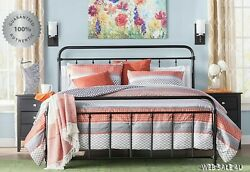Metal Bed Frame Queen Farmhouse Iron Vintage Mid Century Rustic Country Style Bk