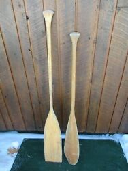 Great Old Set 2 Odd Different Oars 48 + 55 Long Boat Wooden Paddles