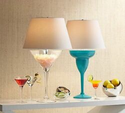 25.5 H Large Novelty Martini Or Margarita Glass Table Lamp W White Shade