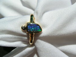 Solid Genuine Australian Opal And 18ct Gold Ring