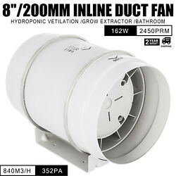 8in Inline Duct Fan Hydroponic Ventilation Blower 2450rpm exhaust 840m3h