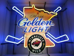 Pick Up Only New Nhl Minnesota Wild Michelob Golden Light Hockey Beer Neon Sign