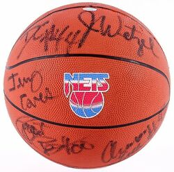 Nj Nets 1994-95 Team Signed Ball Wetzel Williams Mahorn Childs Coleman Anderson+