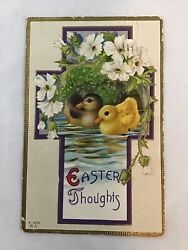 Vintage Easter Postcard Ducklings on Pond Easter Thoughts Reading Pa 1913