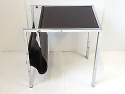 Side Table Magazine Rack Leather Brown And Chrome 1970 Vintage 70s 70's