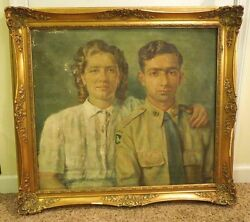 1950 Painting Of Couple By Migliarini 101st Airborne Wwii Uniform American Life