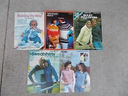 5 Vtg Knit Booklets,babies, Kitchen,sweaters, Vests, Sweatshirts,and More