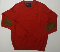 American Eagle Athletic Fit Elbow Patch Crewneck Sweater Rust/red/orange Sz M