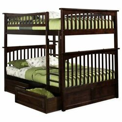 Leo And Lacey Full Over Full Storage Bunk Bed In Walnut