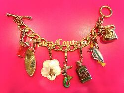 Juicy Couture Beach Vacation Theme Charm Bracelet W/6 Retired Charms