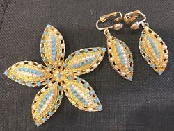 Vintage Sarah Coventry Starfish Pearl And Turquoise Seed Brooch And Earrings Set