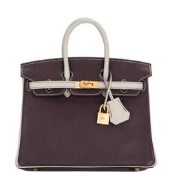 Hermes HSS Bi-Color Raisin and Gris Perle Togo Birkin 25cm Gold Hardware