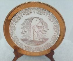 Old Faithful Geyser Yellowstone National Souvenir Plate Gold And White