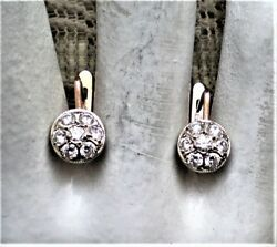 Russian Russia 14k 583 Rose Pink White Gold 0.70ct Diamond Cluster Earrings