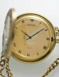 Majestron Pocket Watch Menand039s Eagle Stainless Antiqued Gold Silver Quartz Battery
