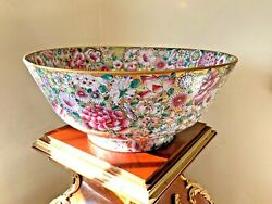 Japanese Flower Large Bowl Hand Painted Hong Kong Mid 20th Cent 14 Inches Wide