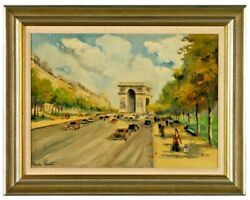 Charles Blondin 1913-1991 Champs Elysees Oil Certificate Of Authenticity