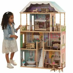 Kidkraft 14 Piece Charlotte Dollhouse In White And Natural