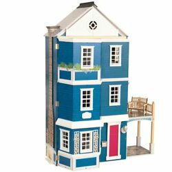 Kidkraft 20 Piece Grand Anniversary Dollhouse In Blue And White