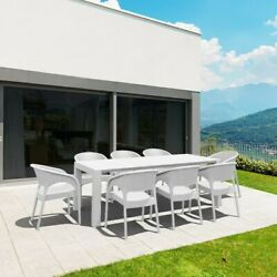Compamia Panama 9 Piece Extendable Patio Dining Set In White