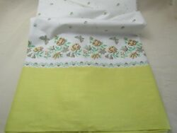 Vintage 36W Cotton Border Fabric for Cross Stitch Yellow Butterfly Floral BTY