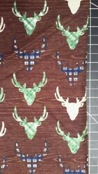 The Great Outdoors Stag Head On Brown Cotton Print By The Yard Riley Blake
