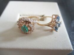 2 Pre Owned Diamond Emerald Sapphire 14k Gold Cocktail Rings