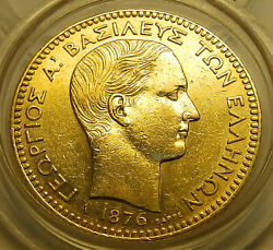 Greece Greek 20 Drachma 1876 Gold King George A' Young Very Low Mintange Rare