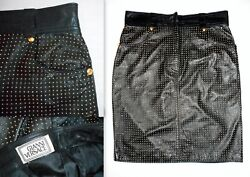 GIANNI VERSACE GOLD NAIL HEAD LEATHER SKIRT-VINTAGE 1993-NEVER WORN-NEAR MINT