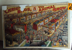 VINTAGE ANTIQUE CHRISTY BROS. 5 RING WILD ANIMAL SHOW CIRCUS POSTER